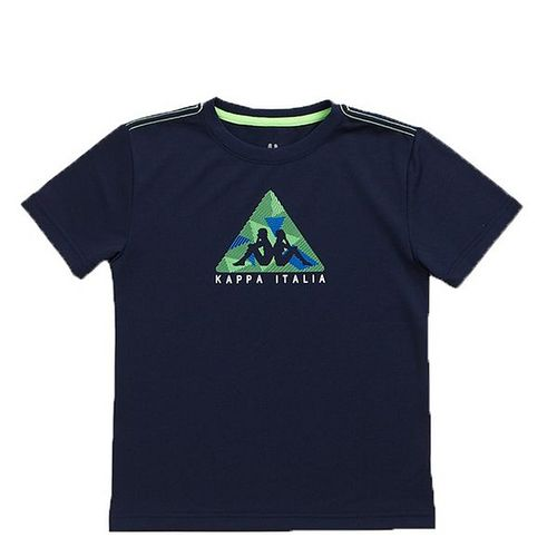 KAPPA義大利小朋友吸濕排汗速乾彩色圓領衫 丈青 螢光遠東 百貨 寶 慶 店綠