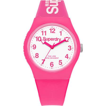 Superdry極度乾燥 Urban系列個性搖擺運動腕錶-白x粉紅
