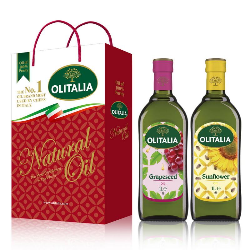 Olitalia奧利塔葡萄籽油+葵花油禮盒組(1000mlx2瓶)