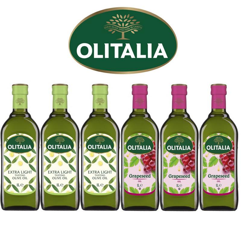Olitalia奧利塔超值精製橄欖油+葡萄籽油禮盒組(1000mlx2瓶x3組)