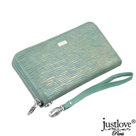 【justloveParis真皮皮夾】法國名品時尚粉漾小牛皮拉鍊長夾手機包附腕帶(2色)BW-0150-0