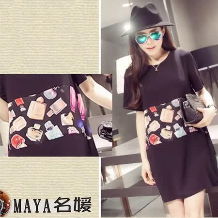 【Maya 名媛春夏】(XL~4XL)寬袖版 雪紡料 短袖連衣裙 香水滿版拼布風格