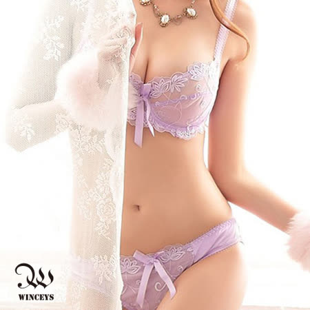 WINCEYS 法式蕾絲性感鏤空內衣褲組-淺紫色