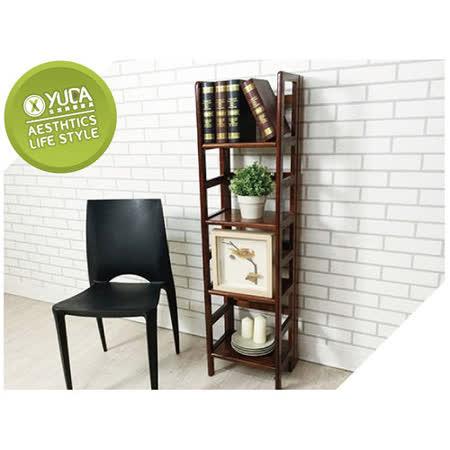 【YUDA】現代簡約 日式禪風 復古懷舊 實木 空間利用 摺疊 收合 小型 收納 書架/書櫃