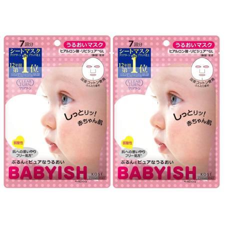 日本KOSE BABYISH 玻尿酸潤澤面膜7入