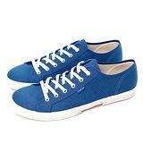 FIVE UP(男) - 簡約舒適休閒綁帶帆布鞋-中藍