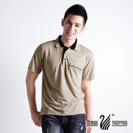【遊遍天下】MIT台灣製男款抗UV涼爽吸濕排汗機能POLO衫S073卡其
