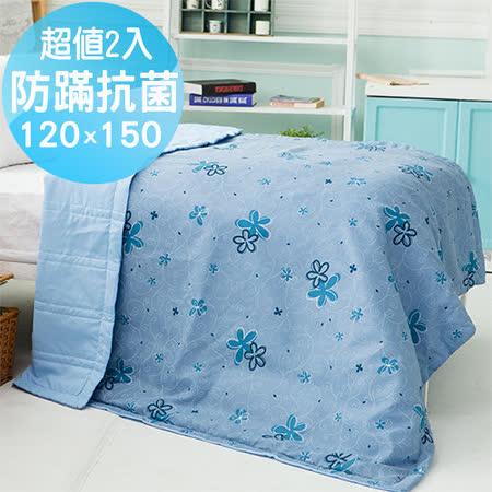 MIT台灣製【珍珠花語-藍】防蹣抗菌舖棉四季涼被/空調被2入(120x150cm)