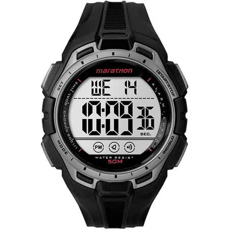 TIMEX 跋涉鐵人電子運動腕錶-灰框黑