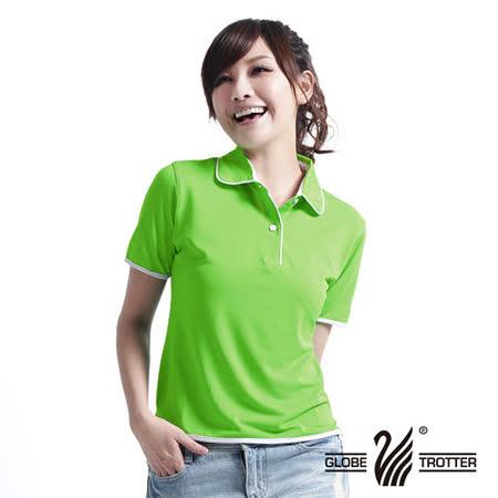 【遊遍天下】MIT台灣製女款抗UV涼爽吸濕排汗機能POLO衫S045果綠
