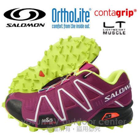 【索羅門 SALOMON】女新款 SPEEDCROSS 3 W 輕量化戶外健行鞋 神秘紫-黑-黃 361917