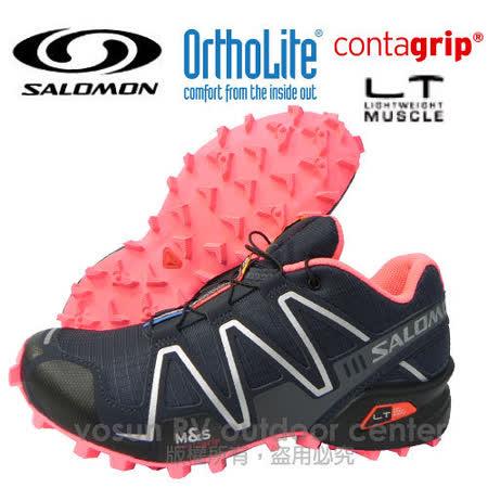 【索羅門 SALOMON】女新款 SPEEDCROSS 3 W 輕量化戶外健行鞋 深藍/粉紅 355486