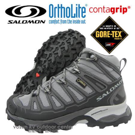 【索羅門 SALOMON】女 X Ultra Mid Gore-Tex W 中筒 防水透氣健行.Contagrip抓地力防滑鞋底_灰 328152