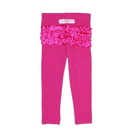 美國 RuffleButts 甜美荷葉邊長褲__桃紅金蔥長褲 (BRSLP01)