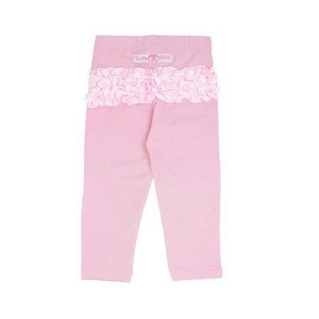 美國 RuffleButts 甜美荷葉邊長褲_溫柔粉金蔥長褲 (BRSLP03)