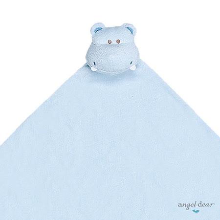 美國 Angel Dear 大頭動物嬰兒毛毯 (藍色河馬)