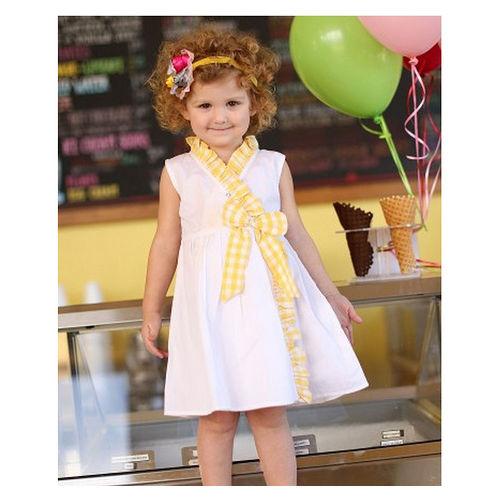 美國 RuffeButts 寶寶兒童洋裝_白色黃格子洋裝
