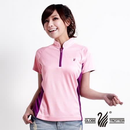 【遊遍天下】MIT台灣製女款抗UV涼爽吸濕排汗機能POLO衫S080深紫