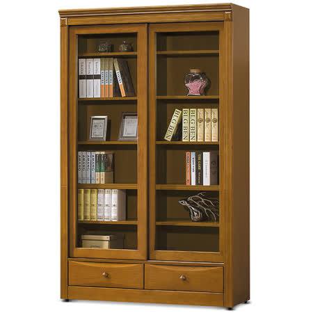 MY傢俬 英式古典4尺推門下抽實木書櫃