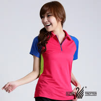 【遊遍天下】MIT台灣製女款撞色時尚吸濕排汗POLO衫S126玫紅