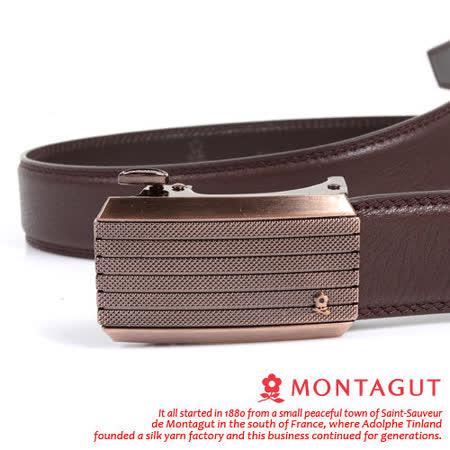 MONTAGUT夢特嬌-頭層牛皮 精品 自動扣皮帶845010