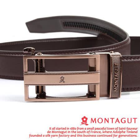 MONTAGUT夢特嬌-頭層牛皮 精品 自動扣皮帶845011