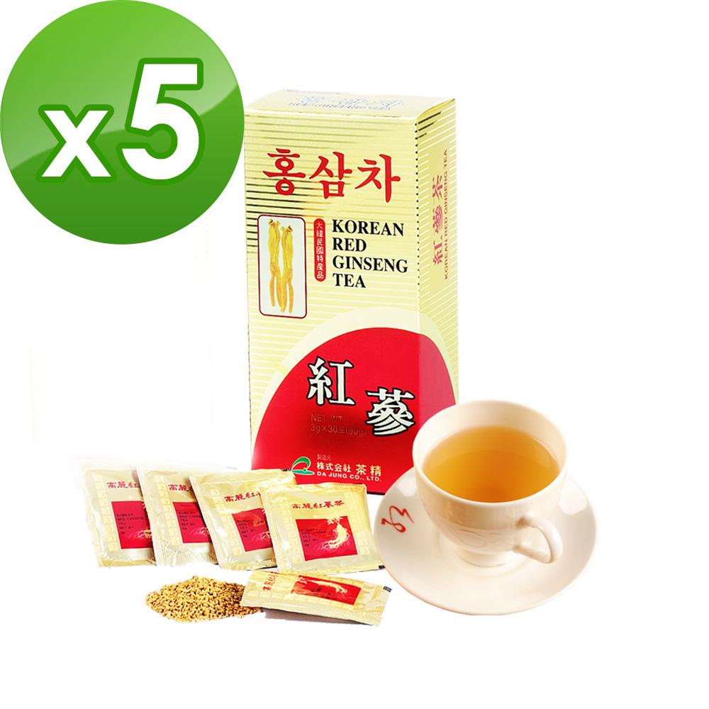 金蔘-6年根韓國高麗紅蔘茶(30包/盒,共5盒)加贈蔘芝王2瓶