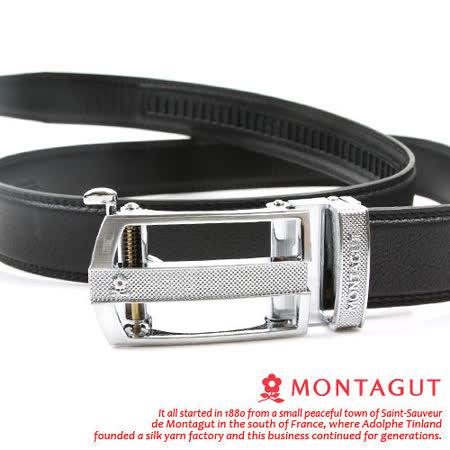 MONTAGUT夢特嬌-頭層牛皮 精品 自動扣皮帶-銀845006
