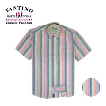 【FANTINO】男款 亮彩直條舒適棉麻襯衫 134531(細條).134529(粗條)