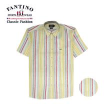 【FANTINO】男款  夏日彩條透氣棉麻襯衫 134533