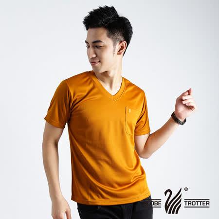 【遊遍天下】MIT台灣製中性款抗UV涼爽吸濕排汗V領機能衫S106土黃