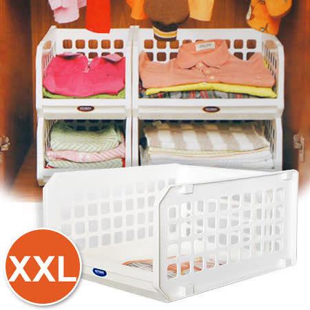 [百貨通]開放式整理架XXL(6入) 可疊式置物籃 重疊架 收納籃