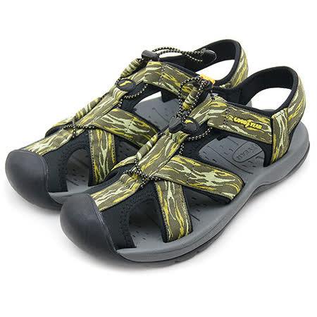 【男】GOOD YEAR 專業運動護趾涼鞋  綠灰 53785