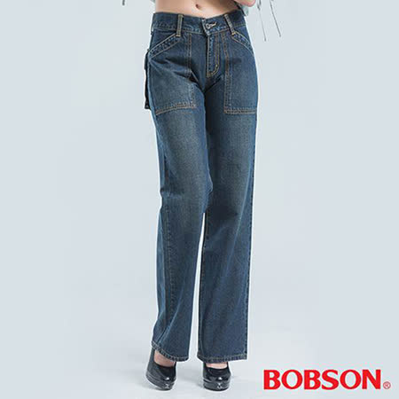 BOBSON 前貼口袋刷白牛仔褲-藍色
