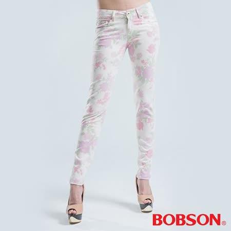 BOBSON 印布花褲小直筒褲 -粉色