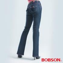 BOBSON 貓鬚刷白伸縮小喇叭褲-藍色