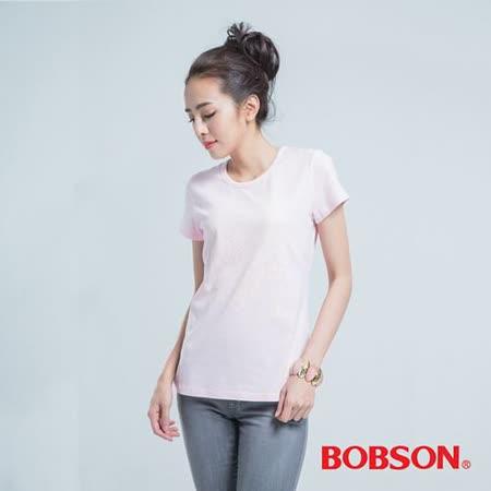BOBSON 女鞋印圖T恤 -粉紅