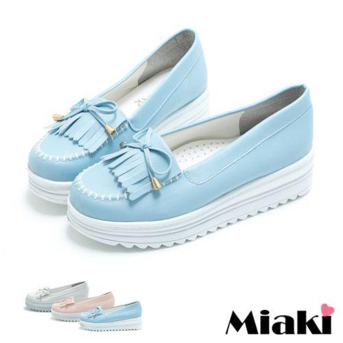 ~Miaki~MIT 樂福鞋韓風厚底牛津包鞋休閒鞋 ^(白色粉色藍色^)