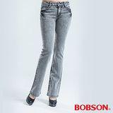 BOBSON 施華洛世奇鑽飾小喇叭褲-灰色