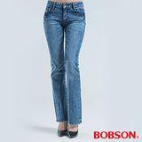 BOBSON 施華洛世奇鑽飾小喇叭褲-藍色