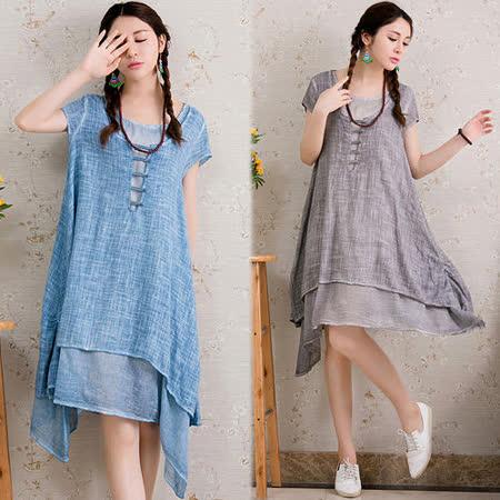 《韓國K.W.》中國文藝風棉麻舒適洋裝