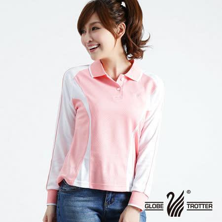 【遊遍天下】MIT台灣製女款抗UV涼爽吸濕排汗機能POLO長衫L013粉紅