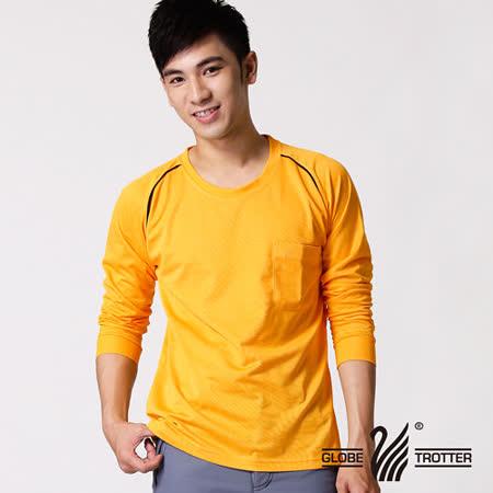 【遊遍天下】MIT台灣製男款運動休閒吸濕排汗機能圓領長衫L038-1金黃