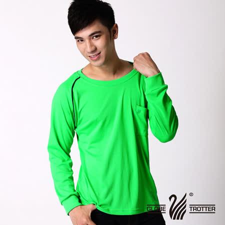 【遊遍天下】MIT台灣製男款運動休閒吸濕排汗機能圓領長衫L038-1活綠
