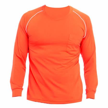 【遊遍天下】MIT台灣製男款運動休閒吸濕排汗機能圓領長衫L038-1桔色