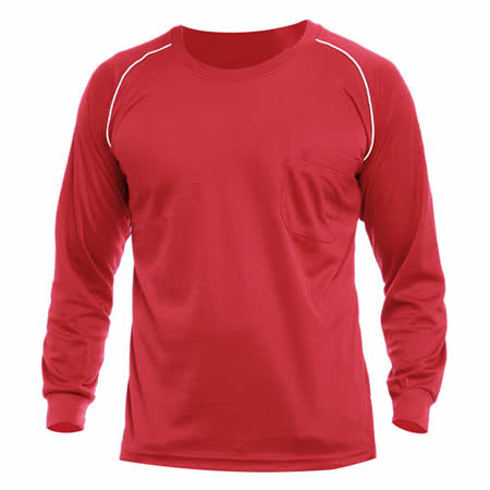 【遊遍天下】MIT台灣製男款運動休閒吸濕排汗機能圓領長衫L038-1紅