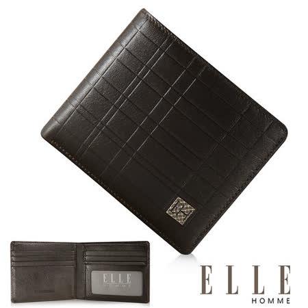 ELLE HOMME 線條格紋義大利頭層皮系列 8卡法式精品短夾 -咖啡 EL81986-45
