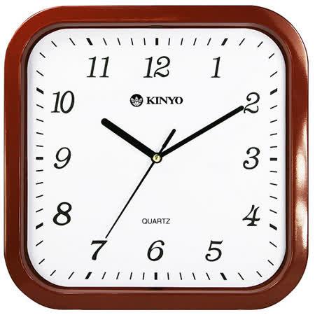 KINYO方形仿木10吋掃秒靜音掛鐘(CL-110)