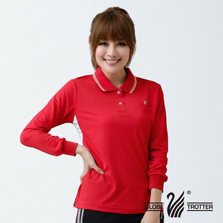 【遊遍天下】MIT台灣製女款休閒吸濕排汗機能POLO長衫L076紅