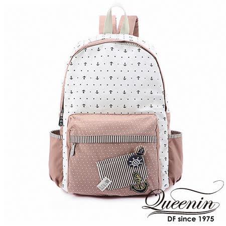 DF Queenin日韓 - 日系水手海洋風帆布款後背包-粉白